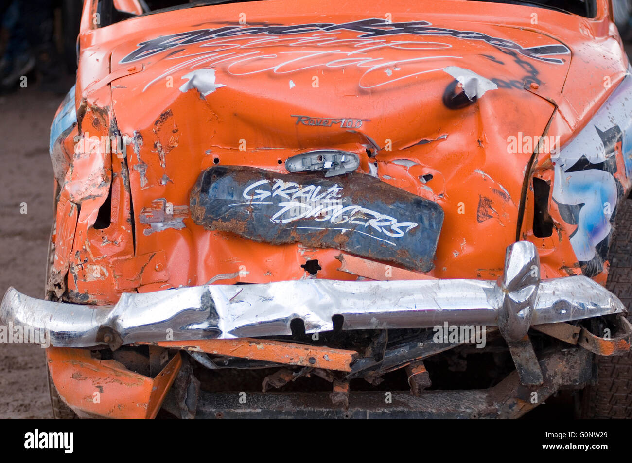 bent old car crashed dented dent crashed panel beater beating scratched accident car cars crashed crash insurance - Stock Image