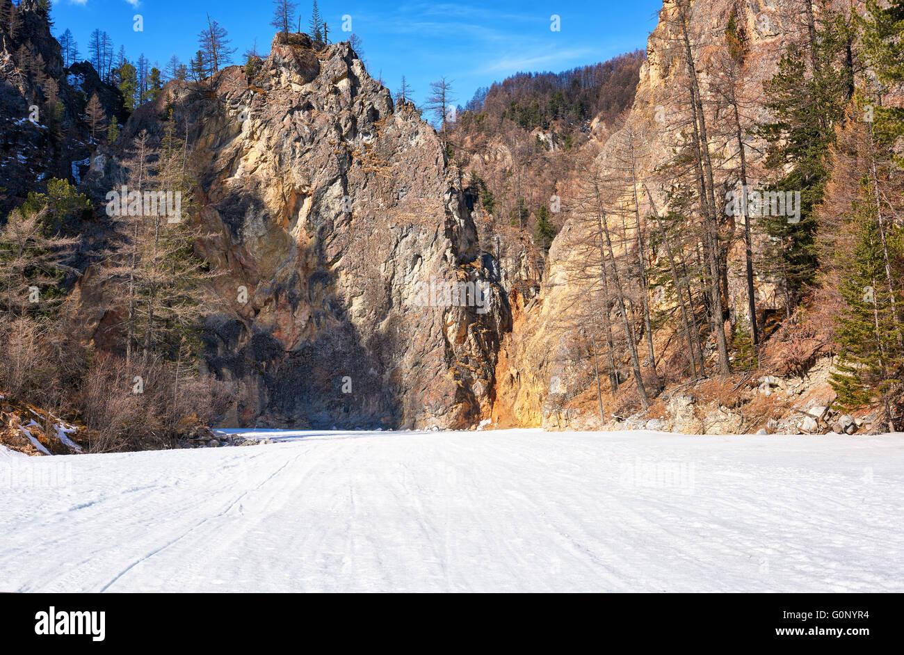 Rocks mountain canyon in Eastern Sayan . White Irkut River . Buryatia . Russia - Stock Image