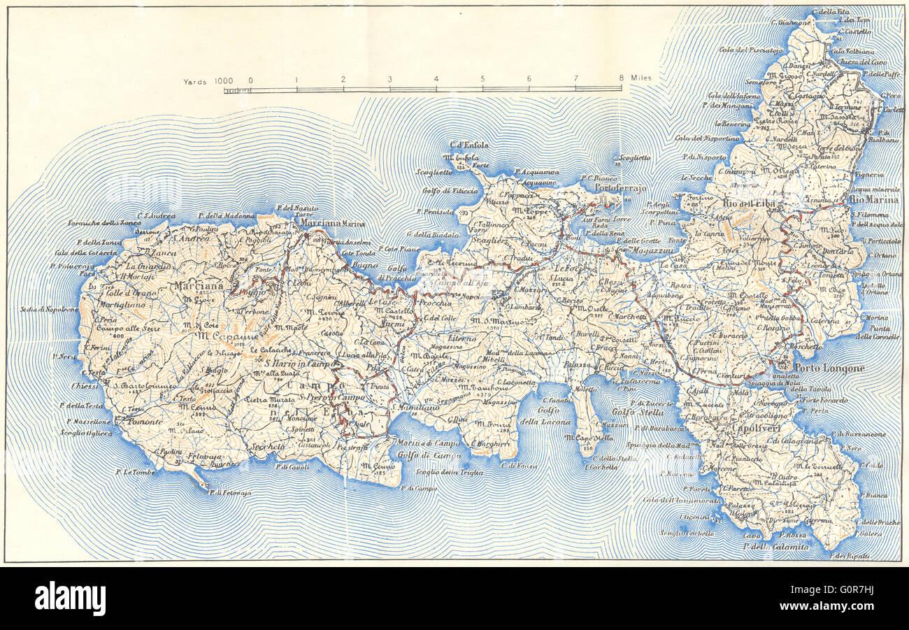 ITALY Elba 1945 vintage map Stock Photo 103773086 Alamy