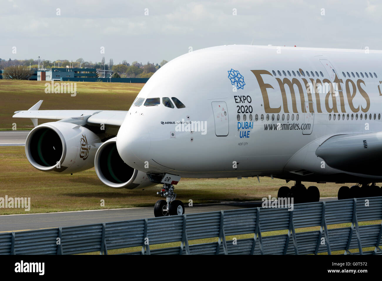 Emirates Airbus A380 taxiing at Birmingham Airport, UK - Stock Image