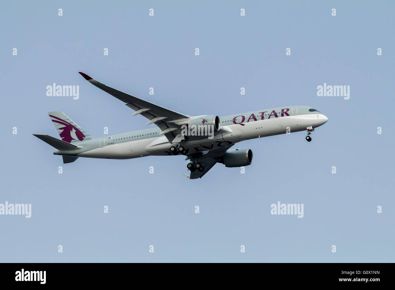 The first flight of Qatar Airways Airbus A350 between Doha and Adelaide lands in Adelaide on Tuesday 3 May 2016. - Stock Image