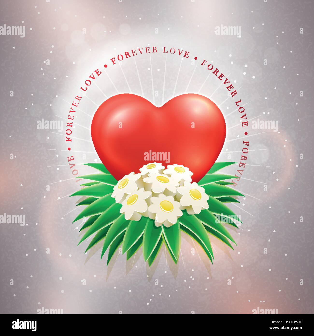 Red heart and daisy bouquet on glitter beige textured background ...