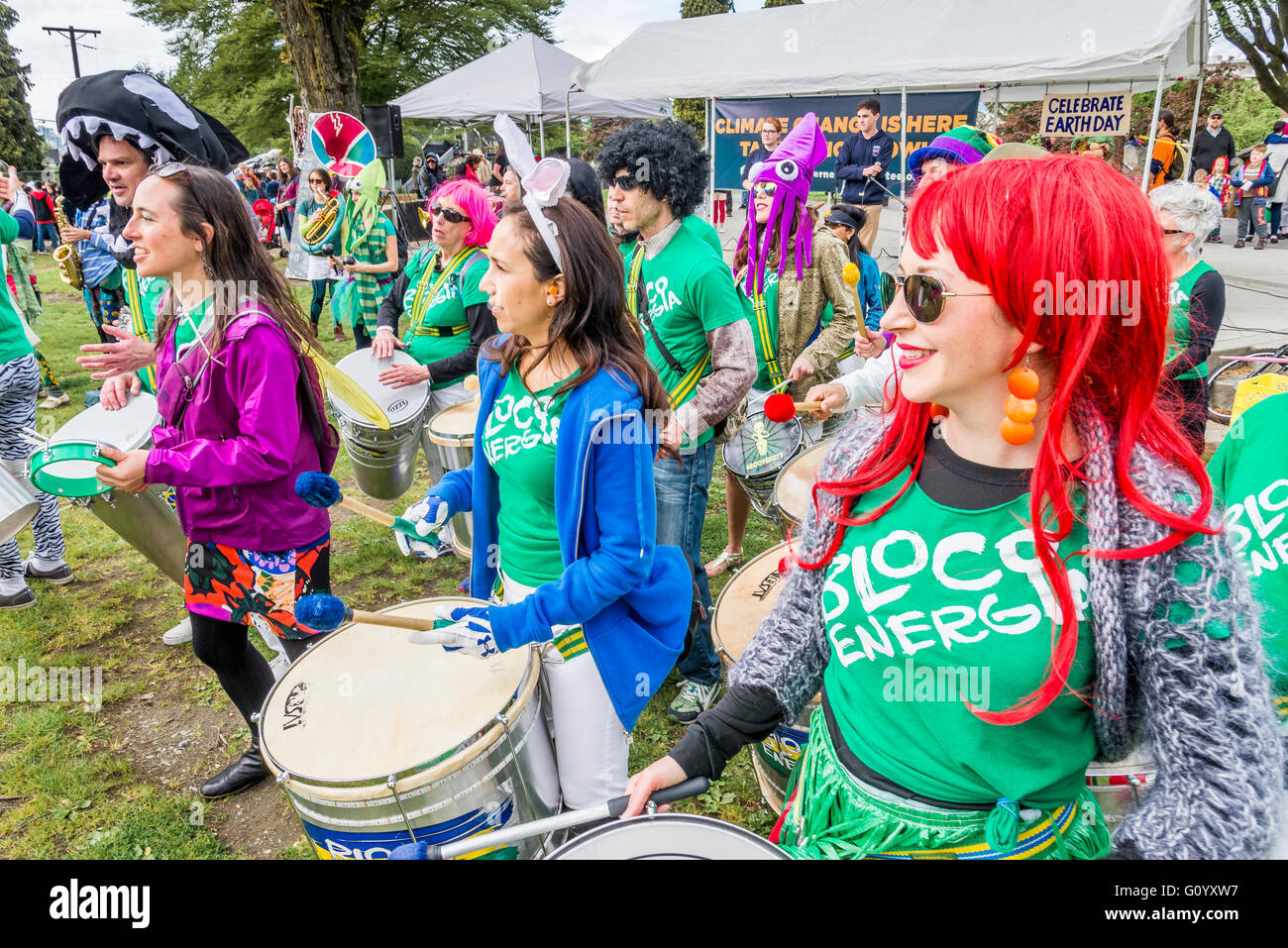 Drum group Bloco Energia perform at Earth Day Rally, Vancouver, British Columbia, Canada - Stock Image