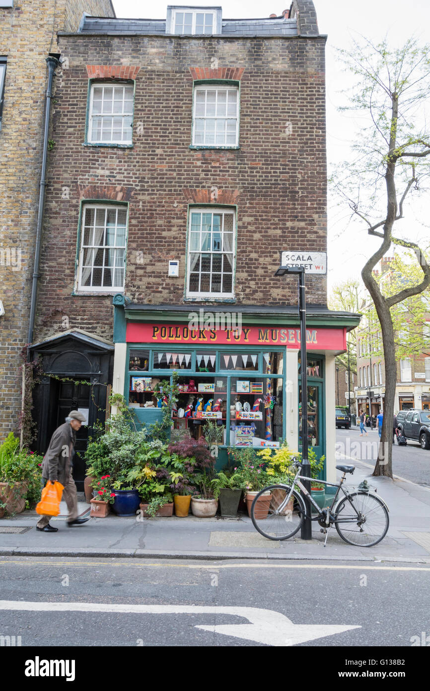Exterior of Pollock's Toy Museum in Fitzrovia in central London, England, UK Stock Photo