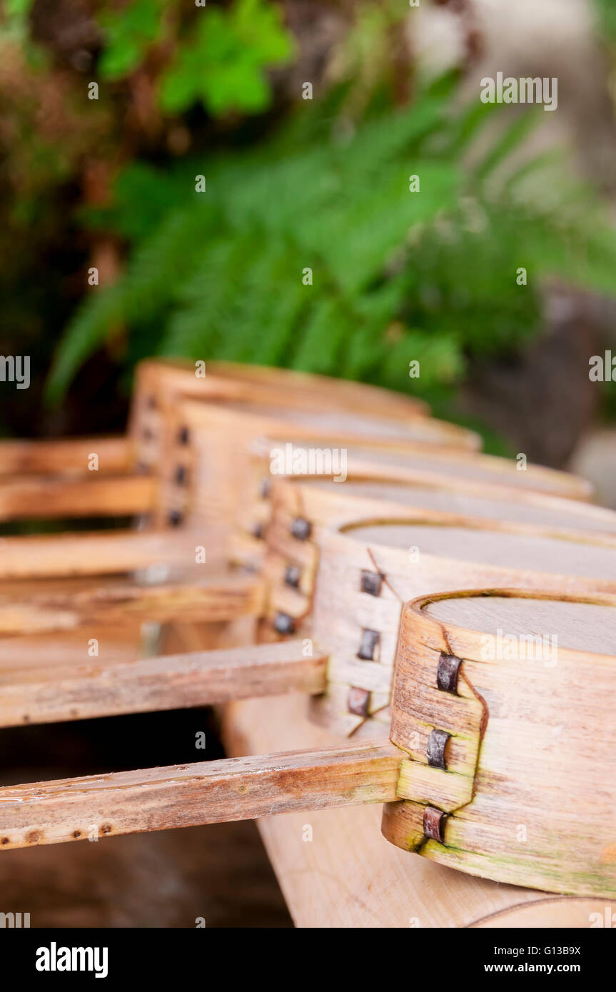 A water ladle at the purification pavilion (a chozuya or temizuya) - Stock Image