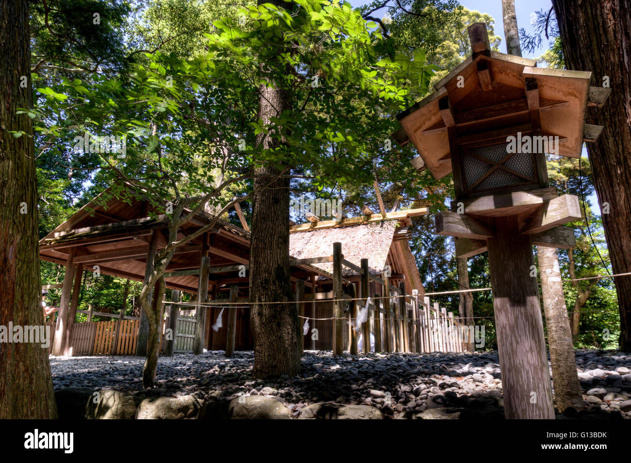 Shinto shrine at Ise Jingu complex, Japan - Stock Image