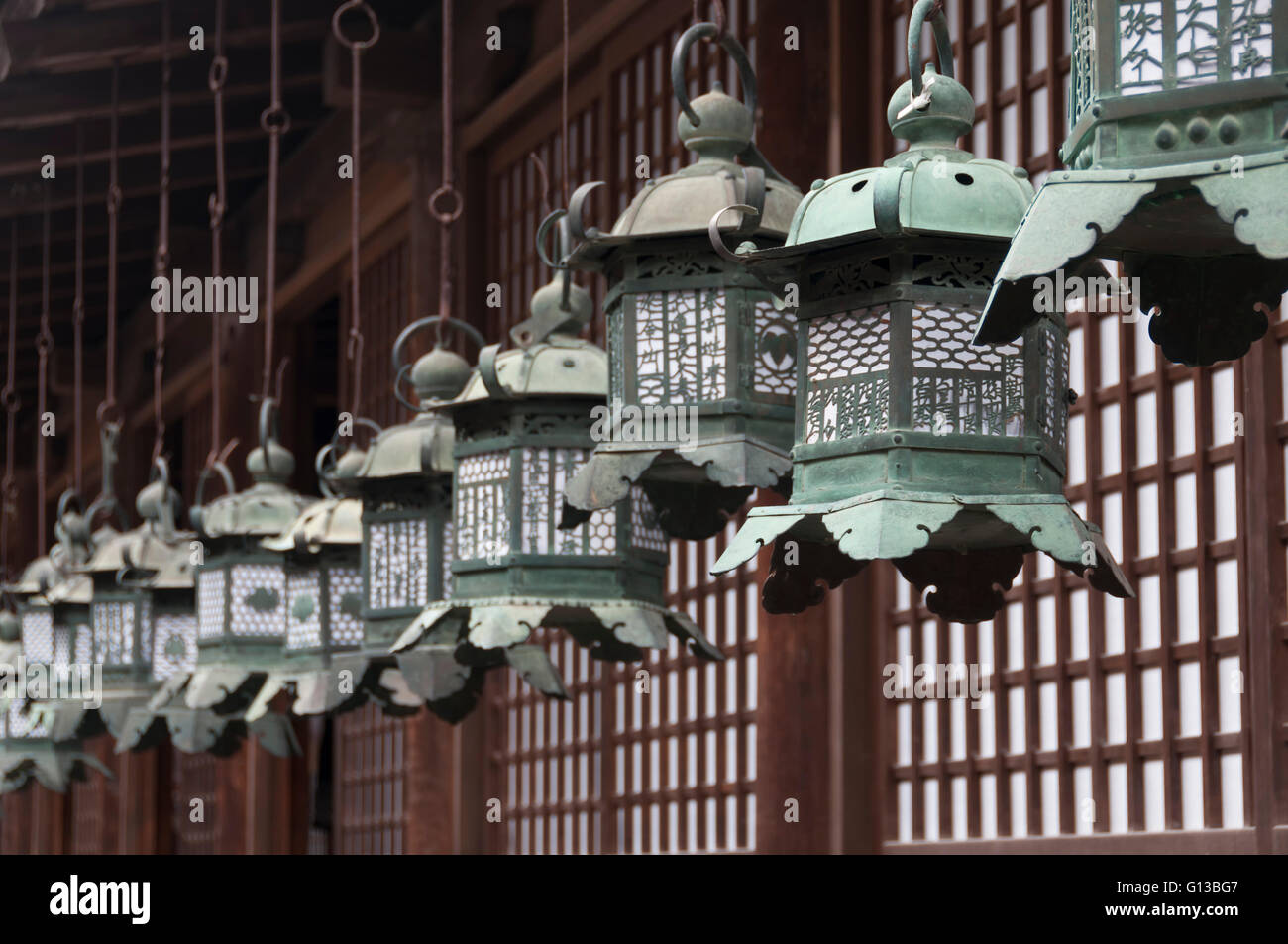 Japanese metal lanterns in a row - Stock Image