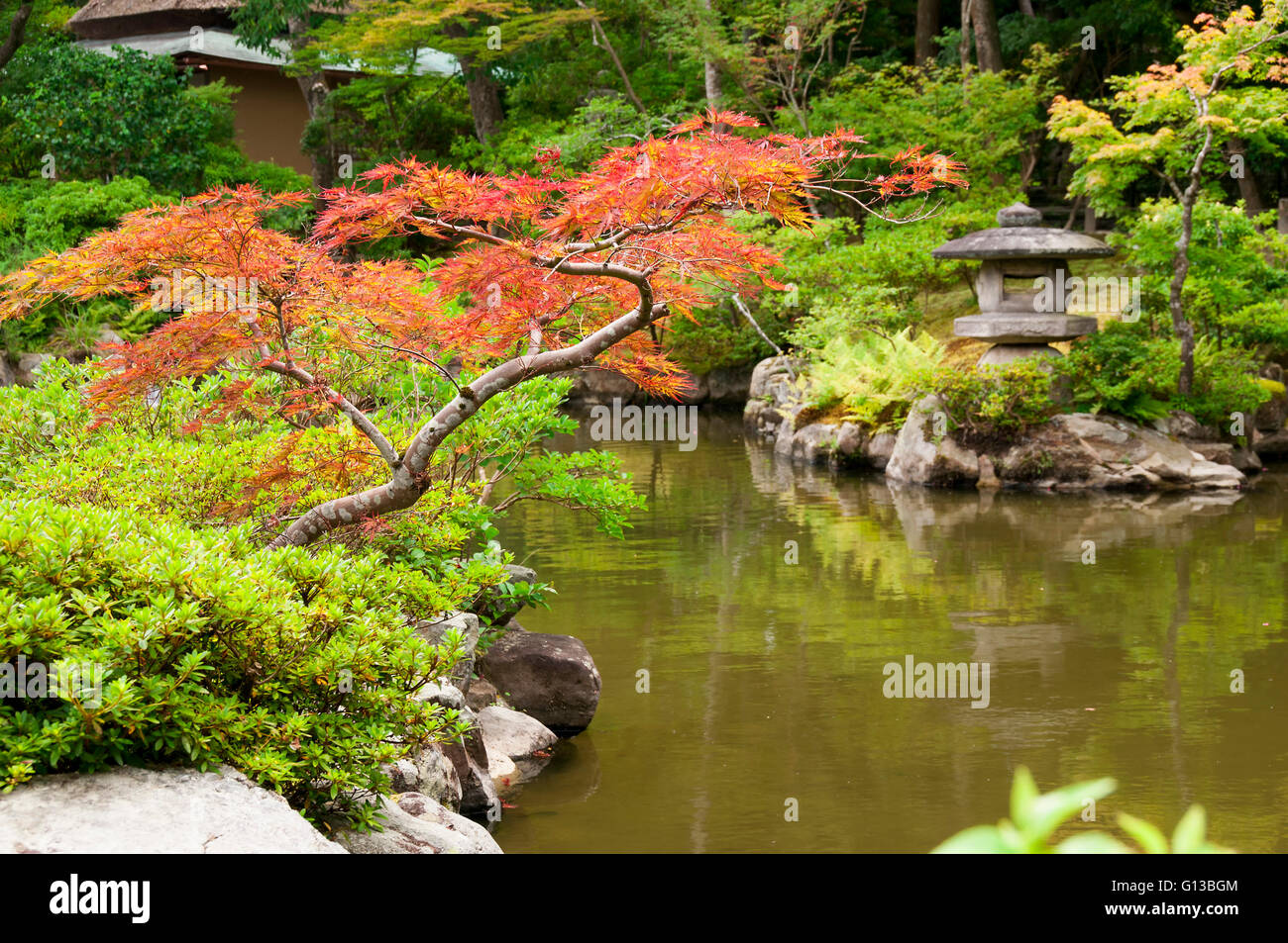 Japanese lantern near the pond - Stock Image