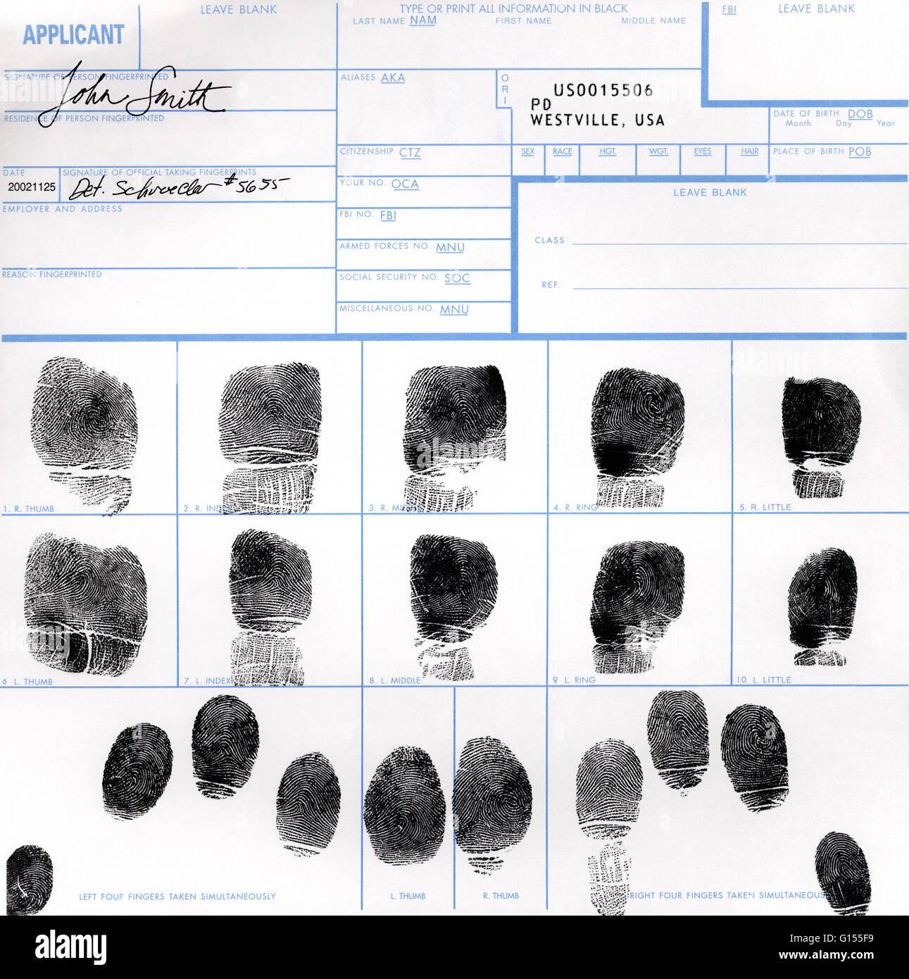 An Fbi Form Completed With All Ten Fingerprints Fingerprint Stock