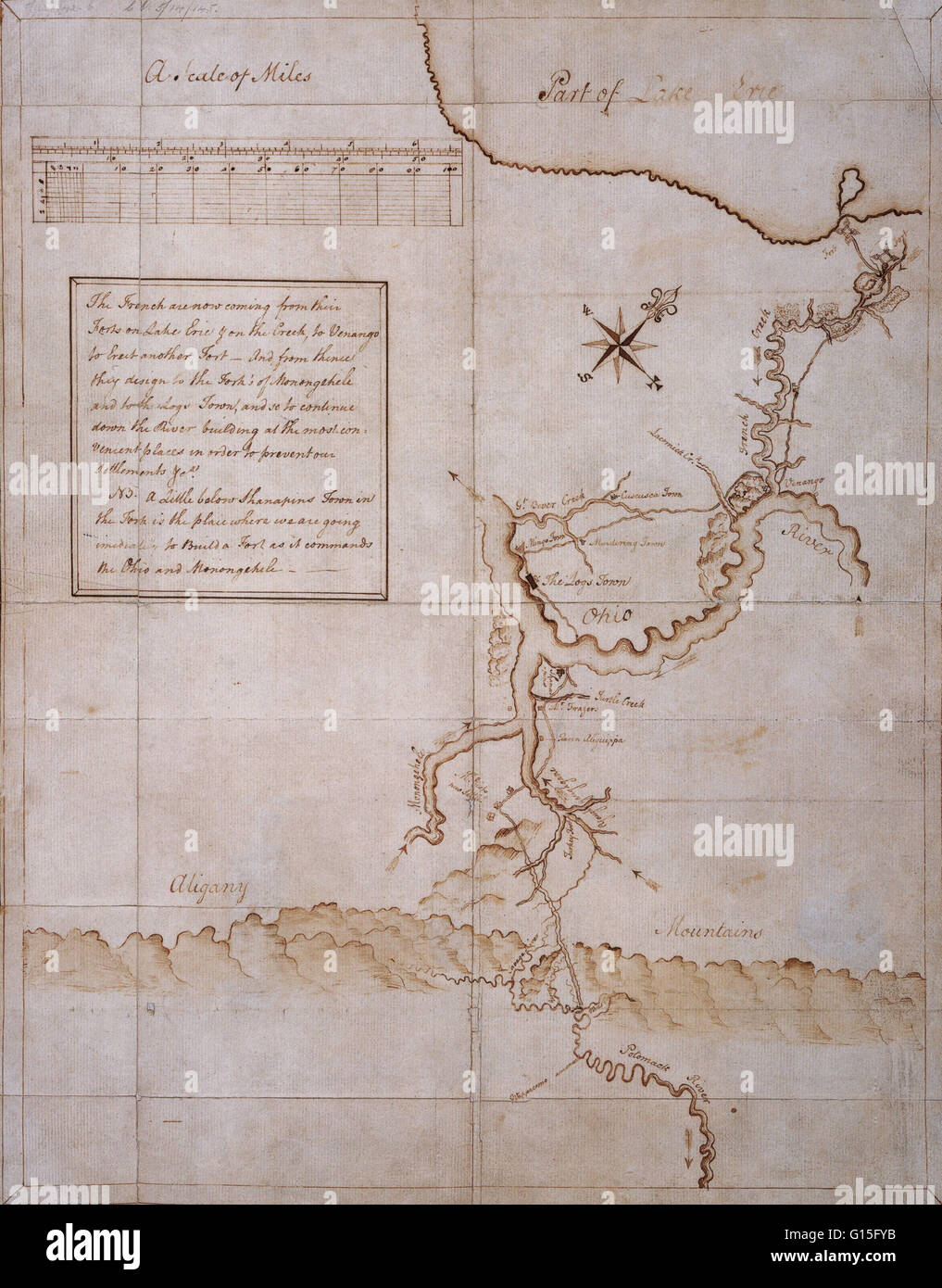 Manuscript map drawn by George Washington during the campaign of 1753-54. - Stock Image