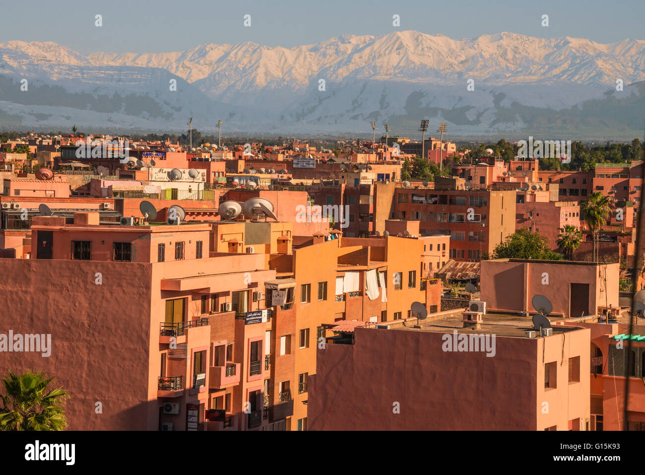 Marrakech panorama, with Atlas Mountains in the backgroud, Marrakesh, Morocco, North Africa, Africa - Stock Image