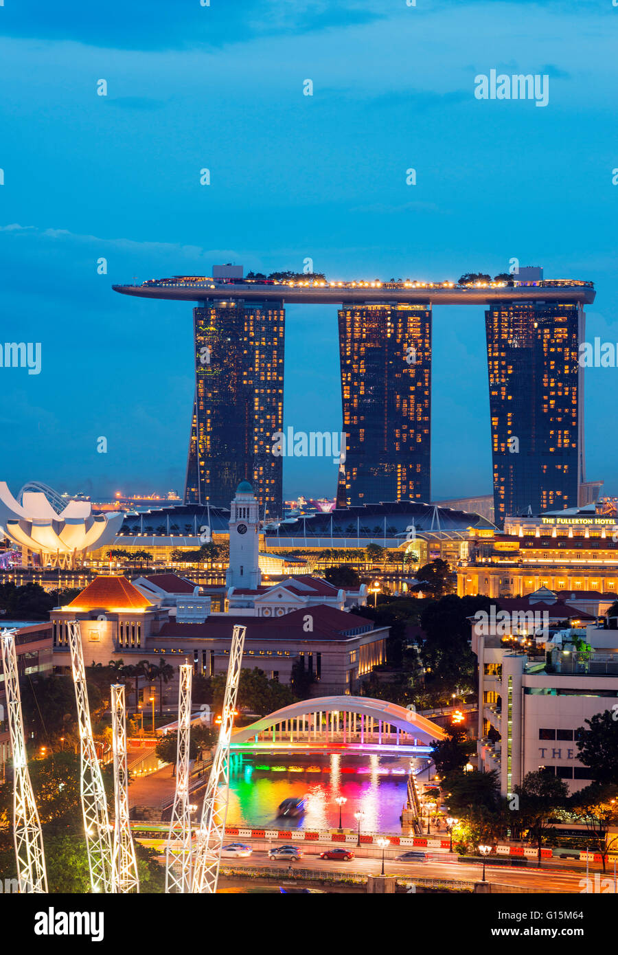 Clarke Quay and Marina Bay Sands Hotel and Casino, Singapore, Southeast Asia, Asia - Stock Image
