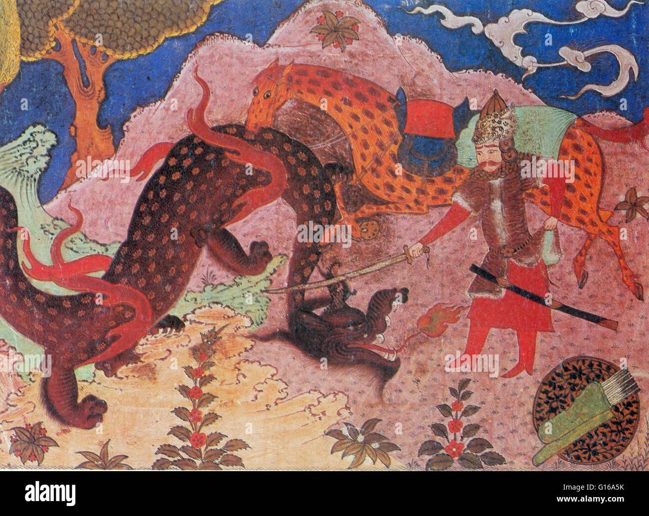 Rostam is the epic hero of the story, Rostam and Sohrab, part of the Persian epic of Shahnama in Persian mythology. Stock Photo