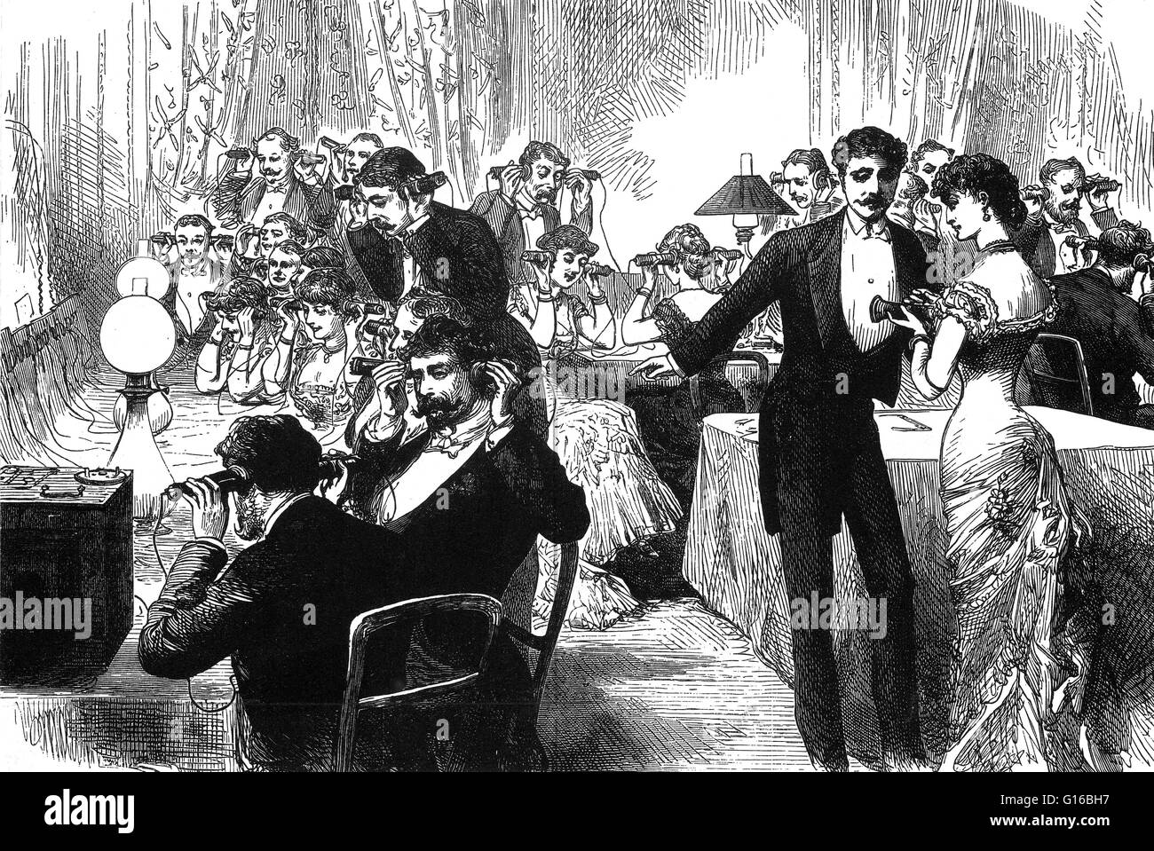 New Years Telephone Party 1882 Illustrating The Popularity Of