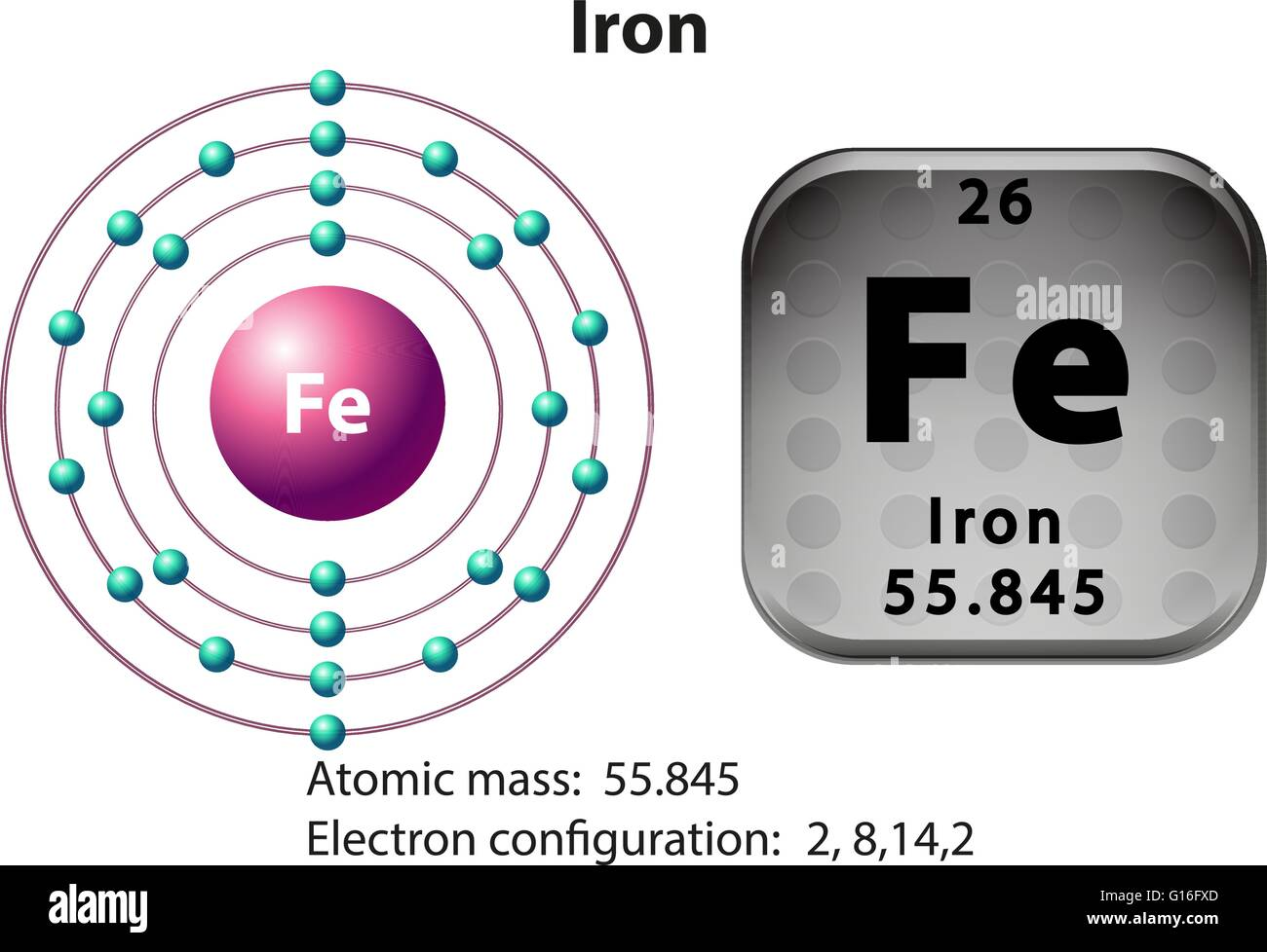 Symbol And Electron Diagram For Iron Illustration Stock Vector Art