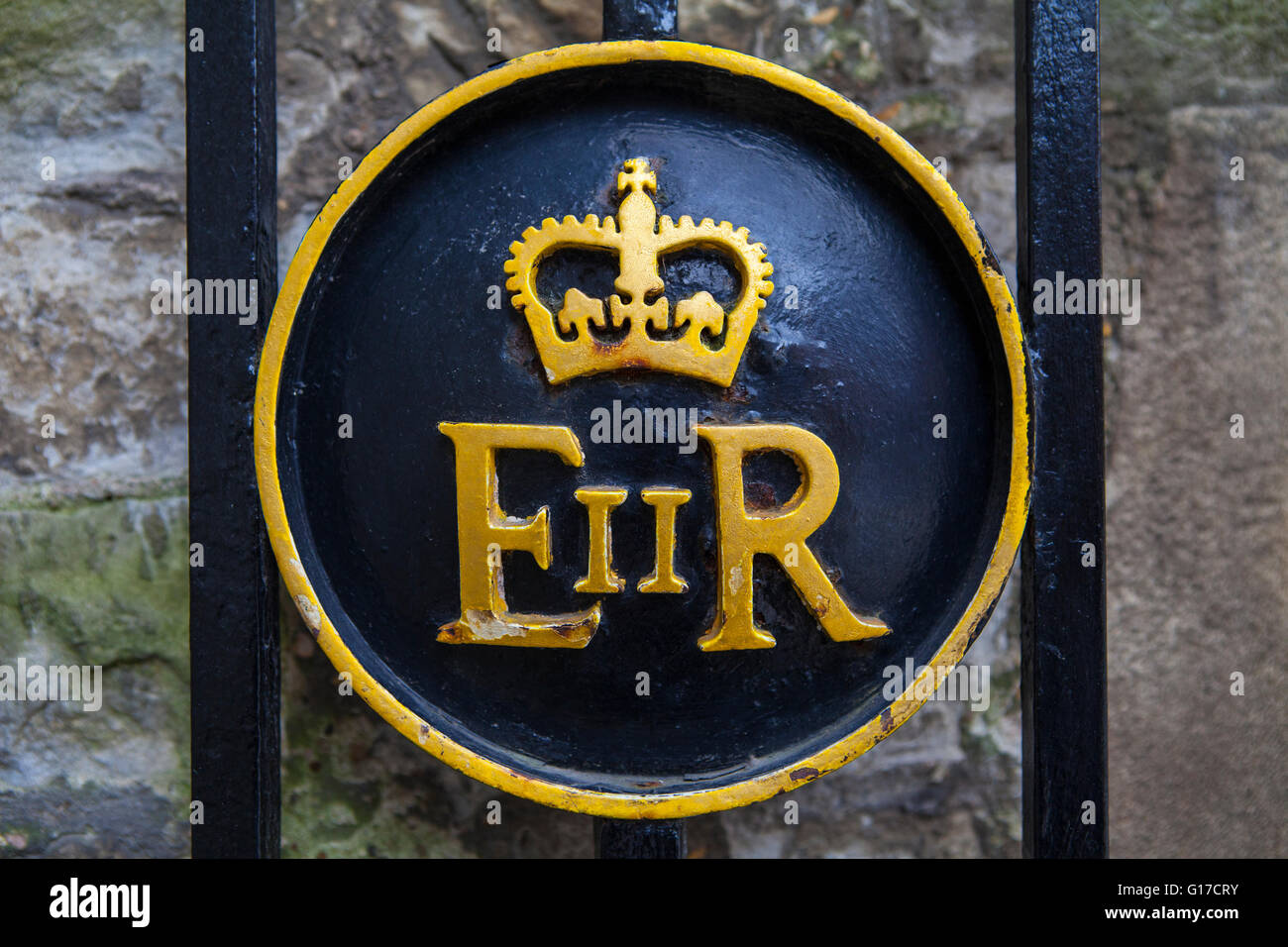 Queen Elizabeth Ii Symbol On A Gate At The Tower Of London Stock