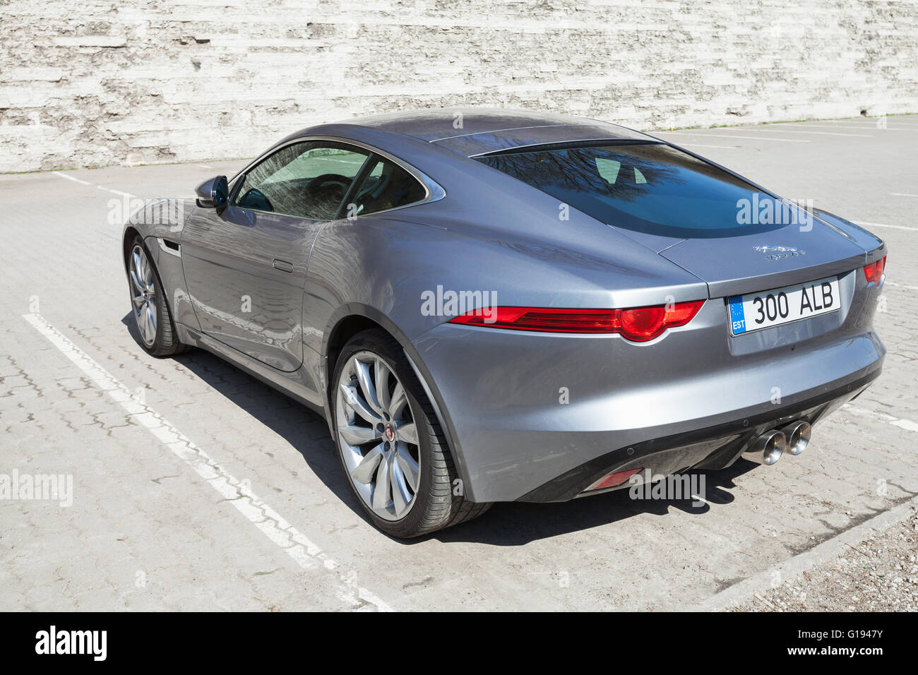 Awesome Tallinn, Estonia   May 2, 2016: Gray Metallic Jaguar F Type Coupe, Rear  View. Two Seat Sports Car, Based On A Platform Of The XK