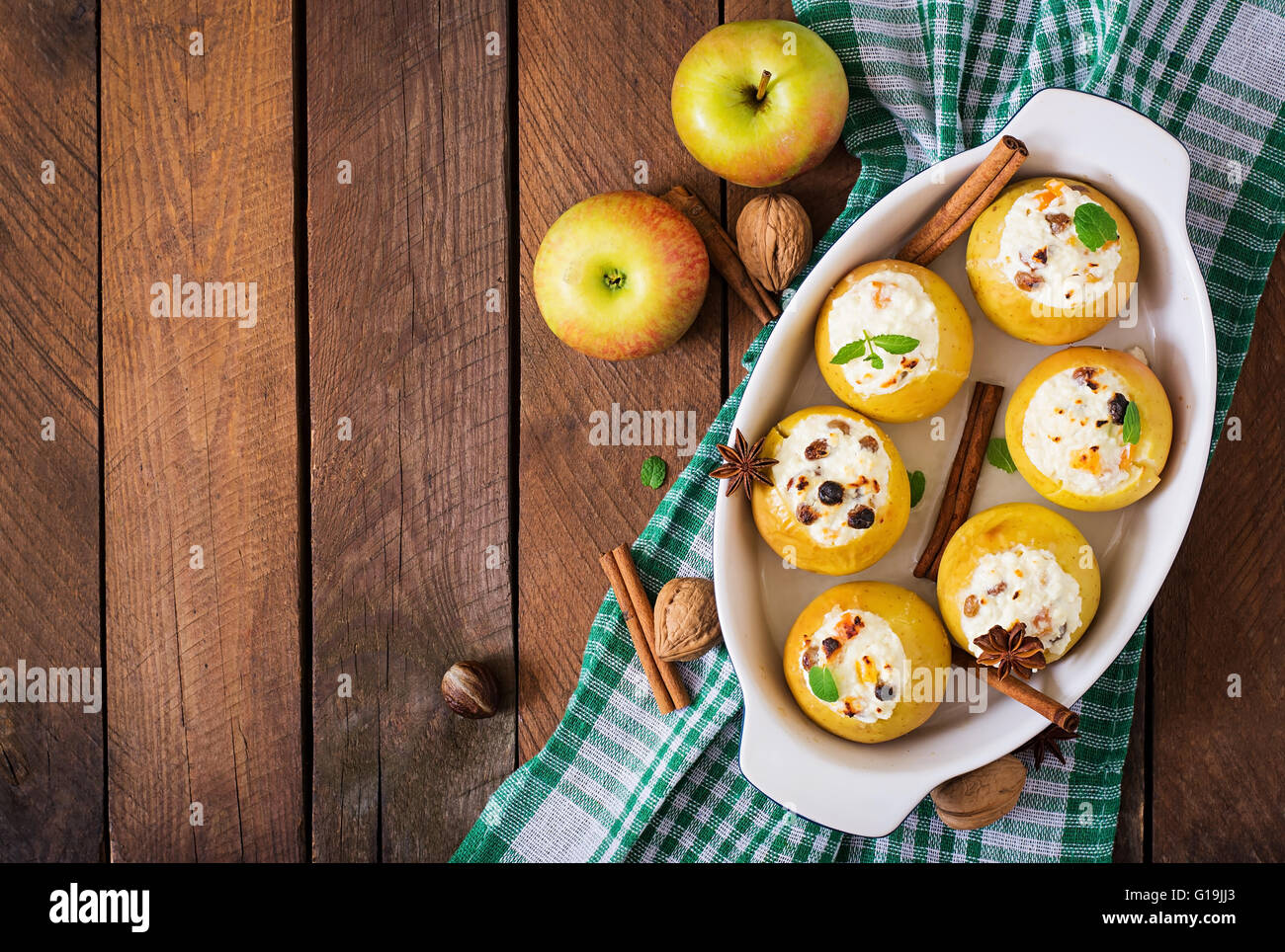 Baked apples with cottage cheese - a favorite dessert 28