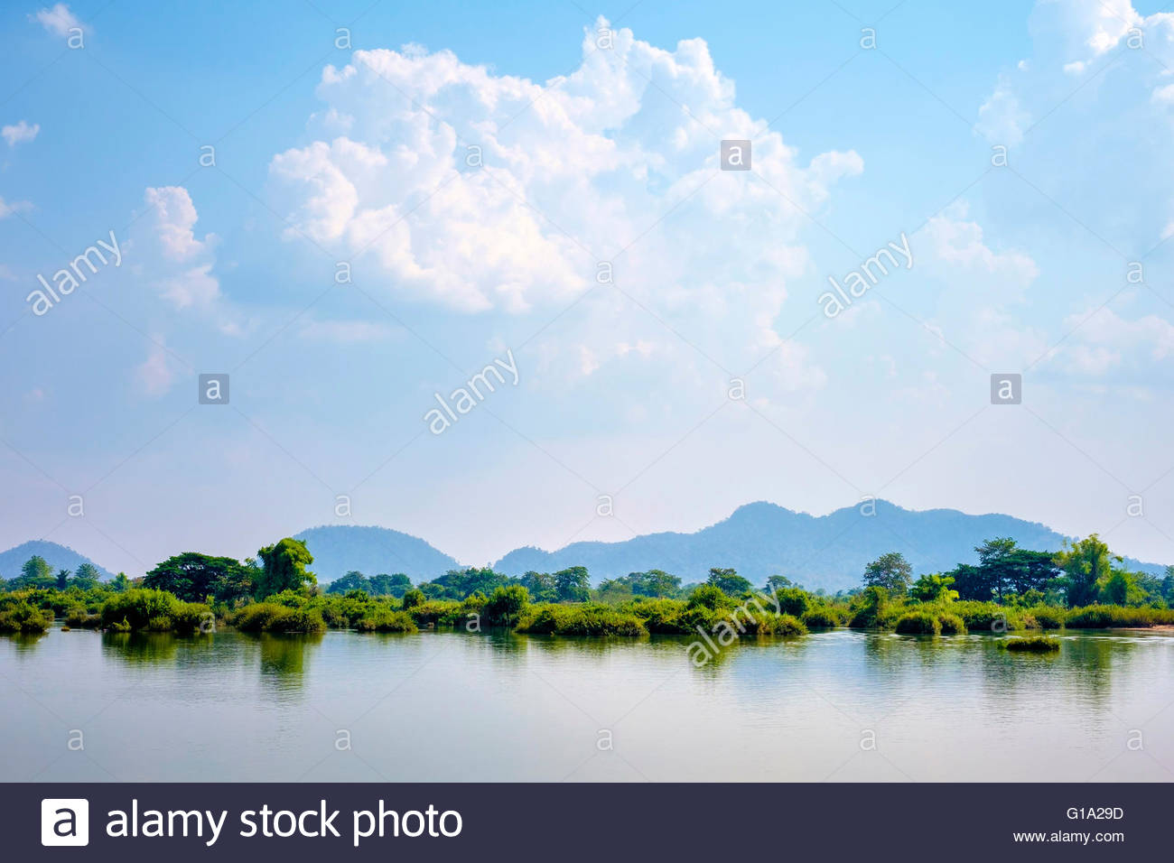 Mekong River at Don Det, Si Phan Don (Four Thousand Islands), Champasak Province, Laos - Stock Image
