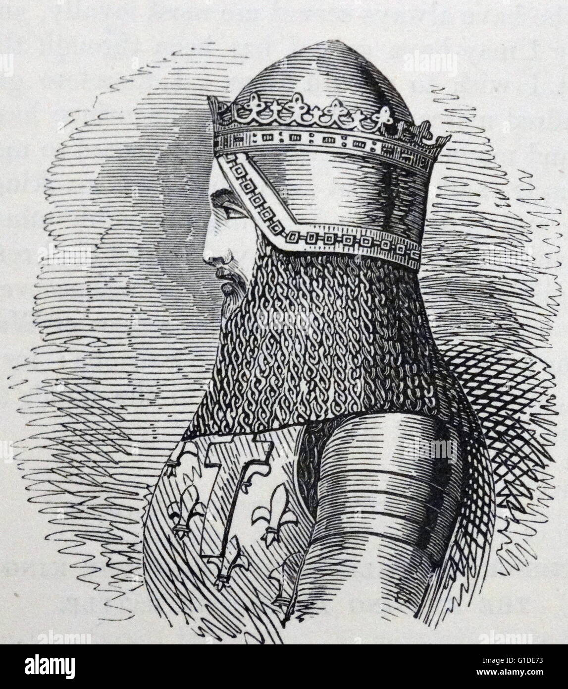 Engraved portrait of Edward, the Black Prince (1330-1376) first Duke of  Cornwall, the Prince of Wales and the Prince of Aquitaine. Dated 14th  Century