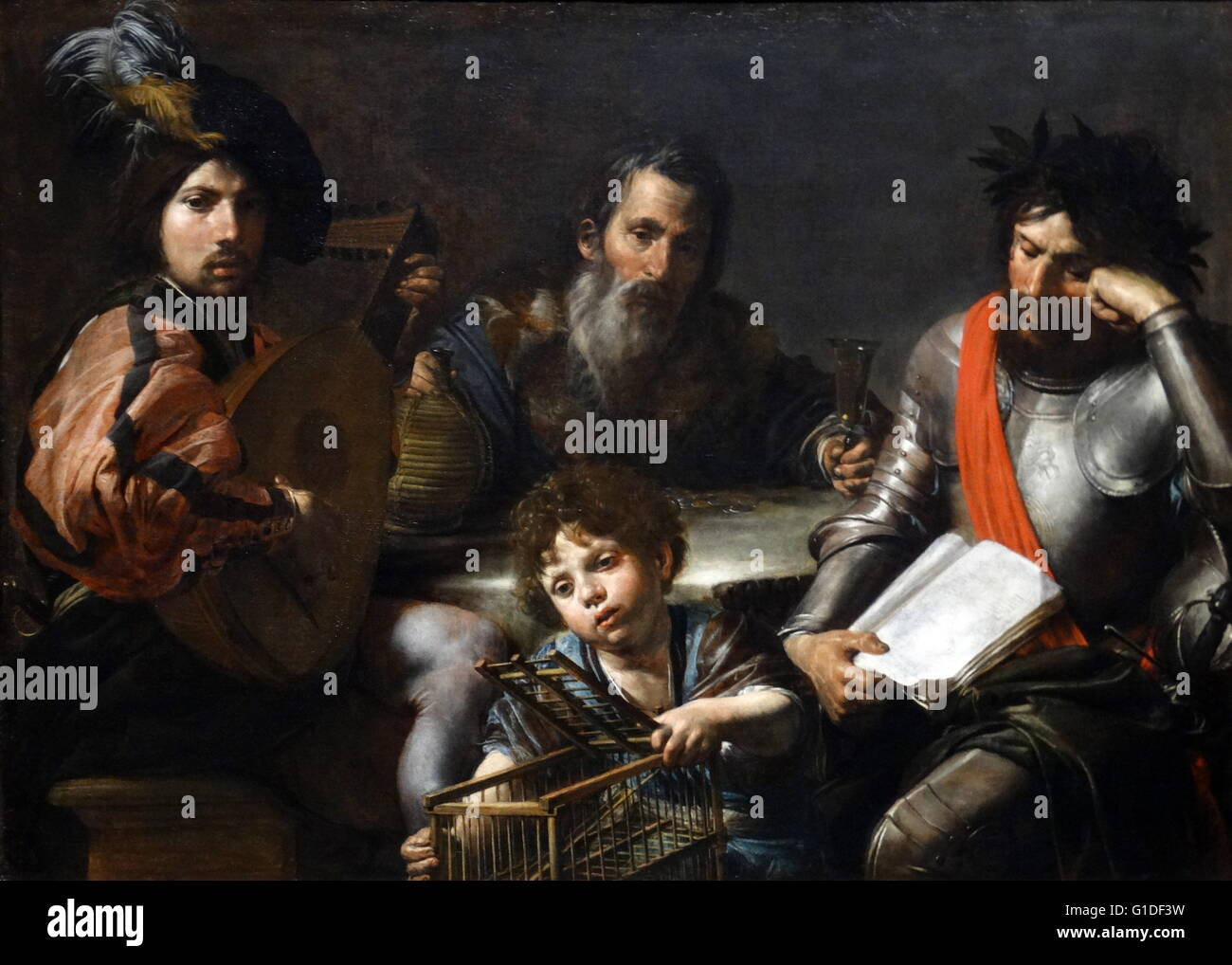 Painting titled 'The Four Ages of Man' by Valentin de Boulogne (1591-1632) a French painter of the tenebrist - Stock Image