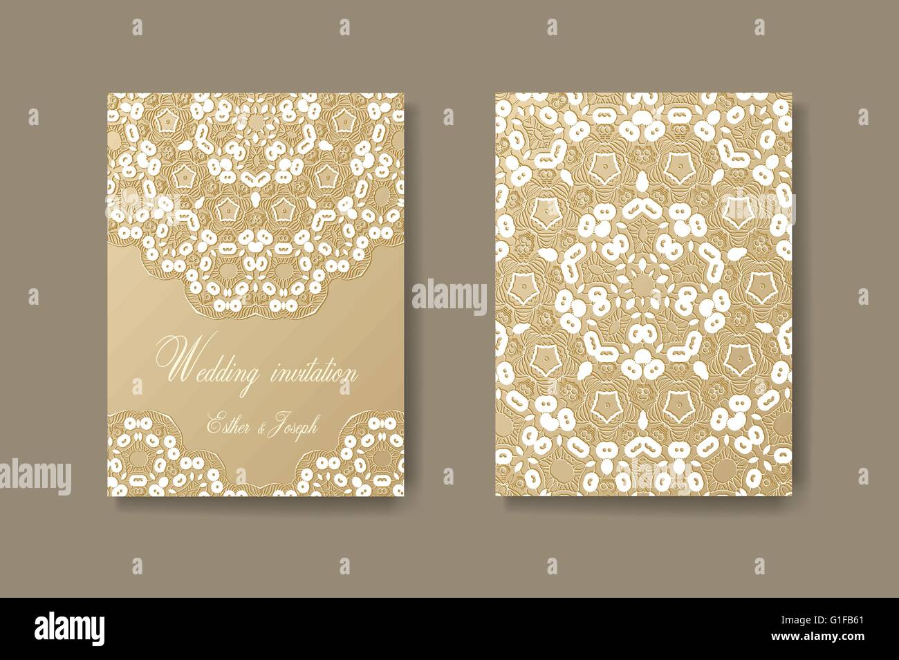 Wedding invitation decorated with white lace vector background wedding invitation decorated with white lace vector background divider header ornamental frame template flyer layout stopboris Images