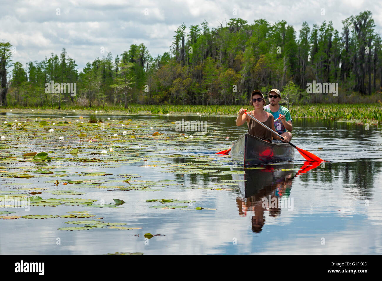 Folkston, Georgia - People canoeing in the Okefenokee National Wildlife Refuge. - Stock Image