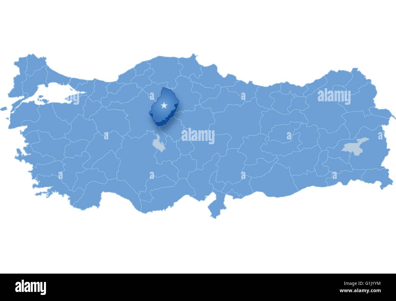 Map of Turkey where Kirikkale province is pulled out isolated on