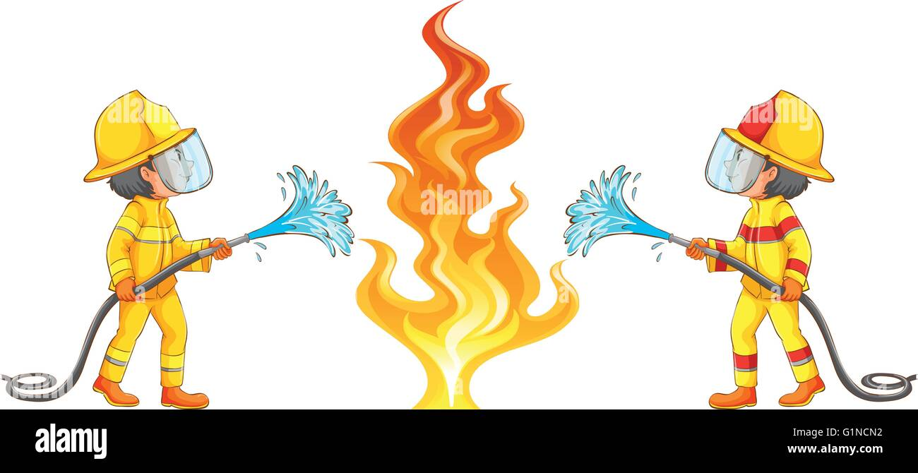 two firemen putting out the fire illustration stock vector art