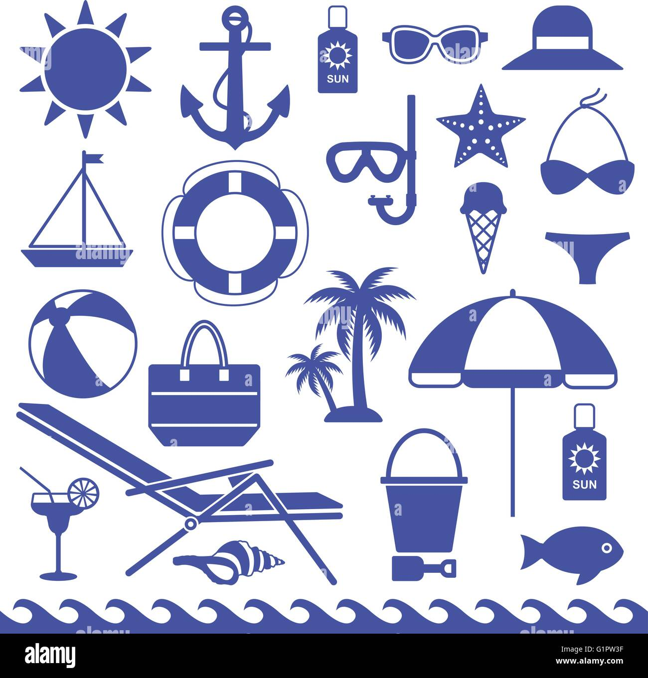 Sea Symbols Silhouette Icons Vector Set 2 Stock Vector Art