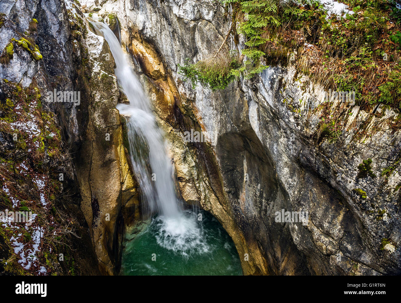 Tatzelwurm waterfall, Upper Level, Mangfall mountains, Oberaudorf, Upper Bavaria, Bavaria, Germany - Stock Image