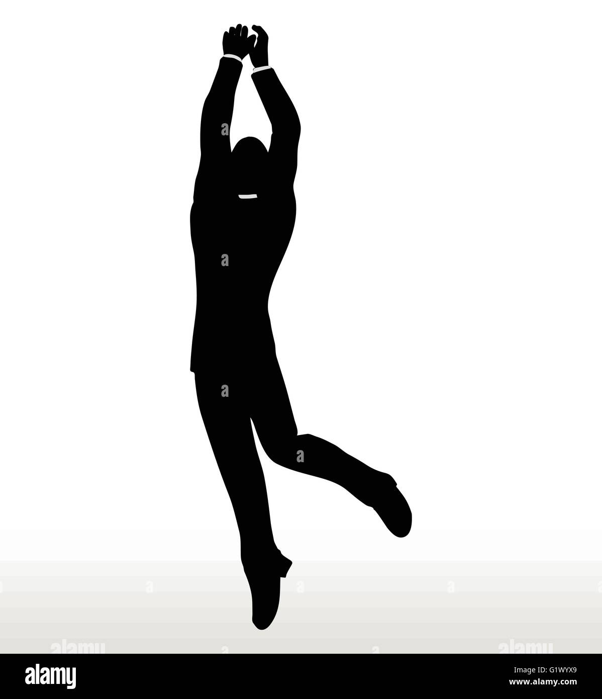 illustration in silhouette of businessman hanging stock vector art