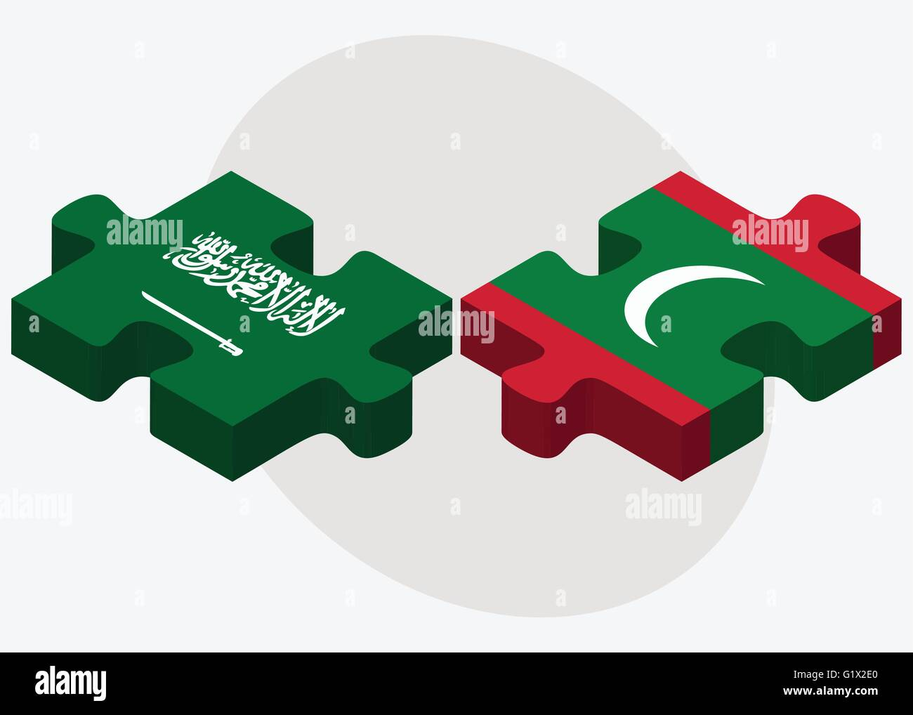 Saudi Arabia and Maldives Flags in puzzle isolated on white background Stock Vector