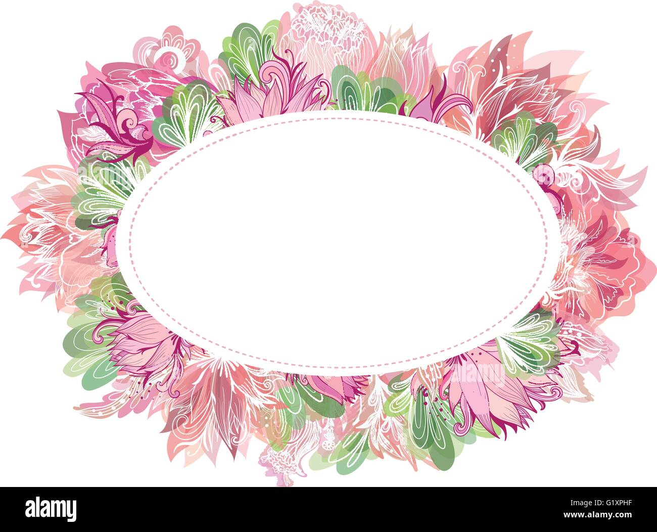 Beautiful card template with shabby chic peony, lily and lotus Stock ...