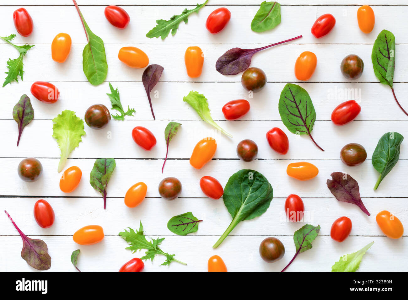 Colorful flat lay of food ingredients. Healthy food background - Stock Image