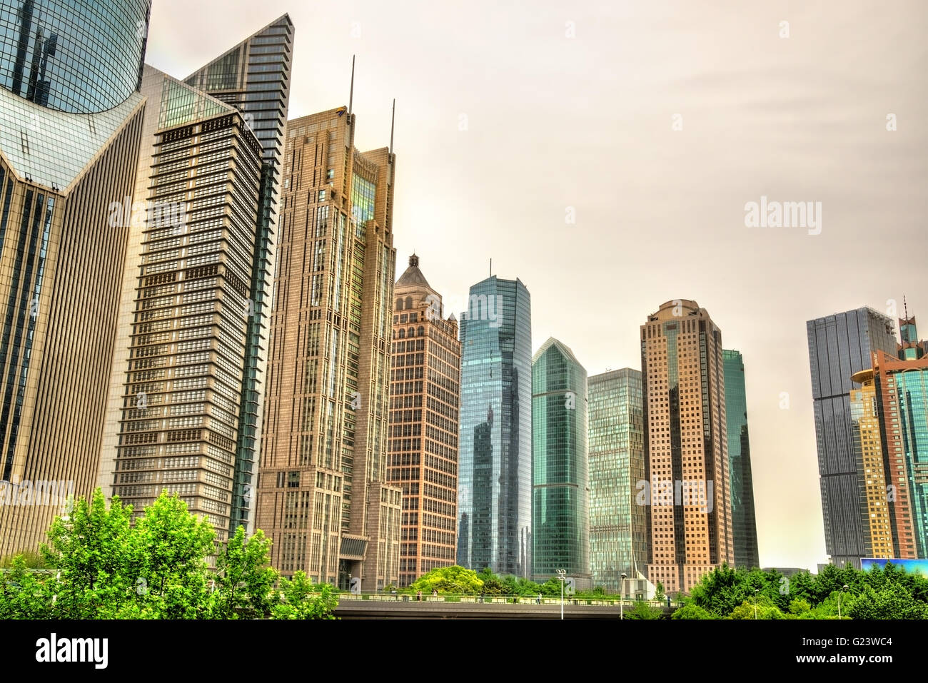 Shanghai skyscrapers at Lujiazui Financial District - Stock Image