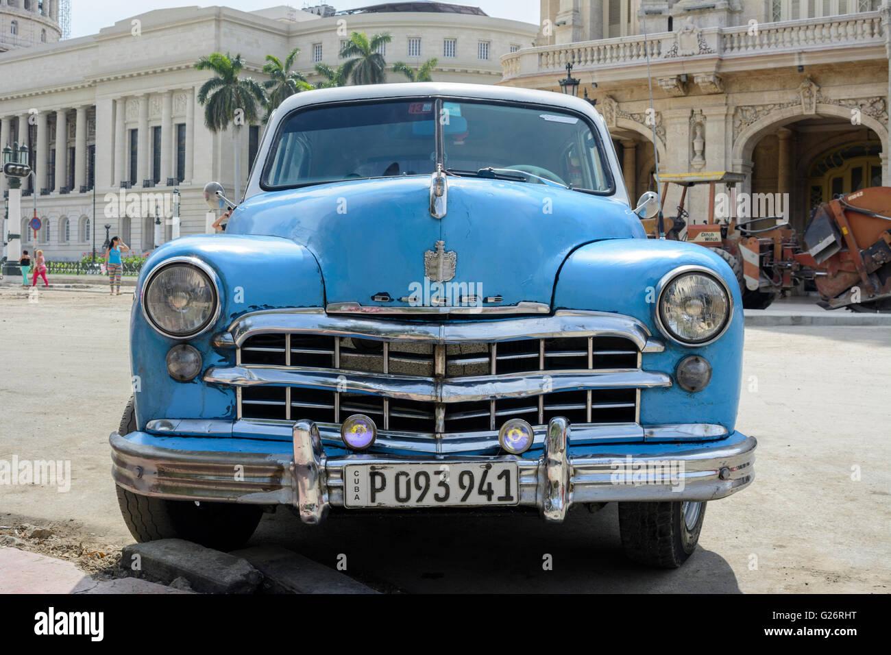 Vintage American car (Dodge) in Parque Central, Old Havana, Cuba ...