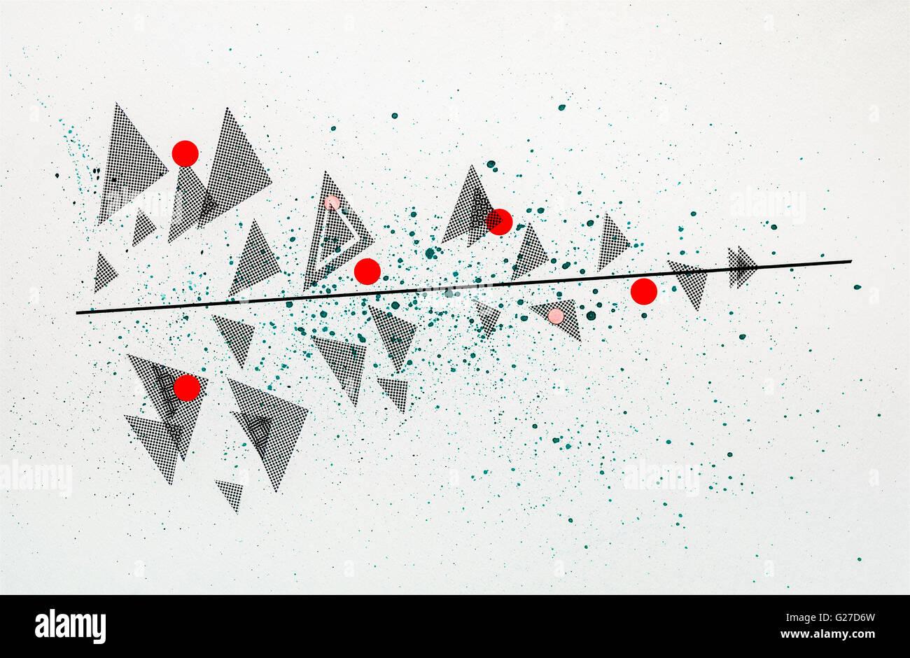 Modern abstract mixed-media drawing by Ed Buziak - France. Stock Photo