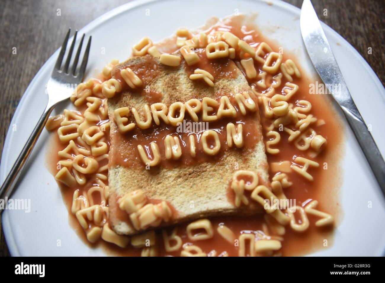 European Union - EU Referendum concept image in kids alphabet pasta on toast - Stock Image