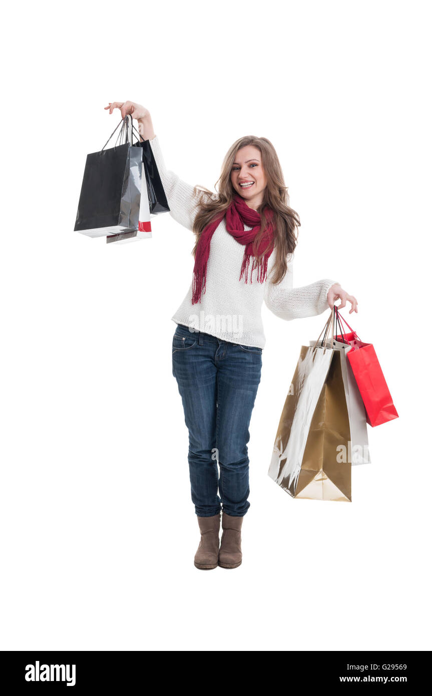 Cute shopping lady happy after shopping spree - Stock Image