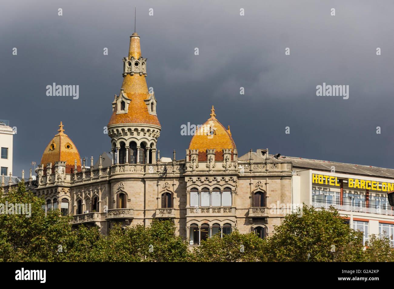 Cases Rocamora, Teatre Tivoli , theatre, Hotel Barcelona, Plaza de Catalunya Catalonia , Barcelona, Catalonia, Spain, Stock Photo