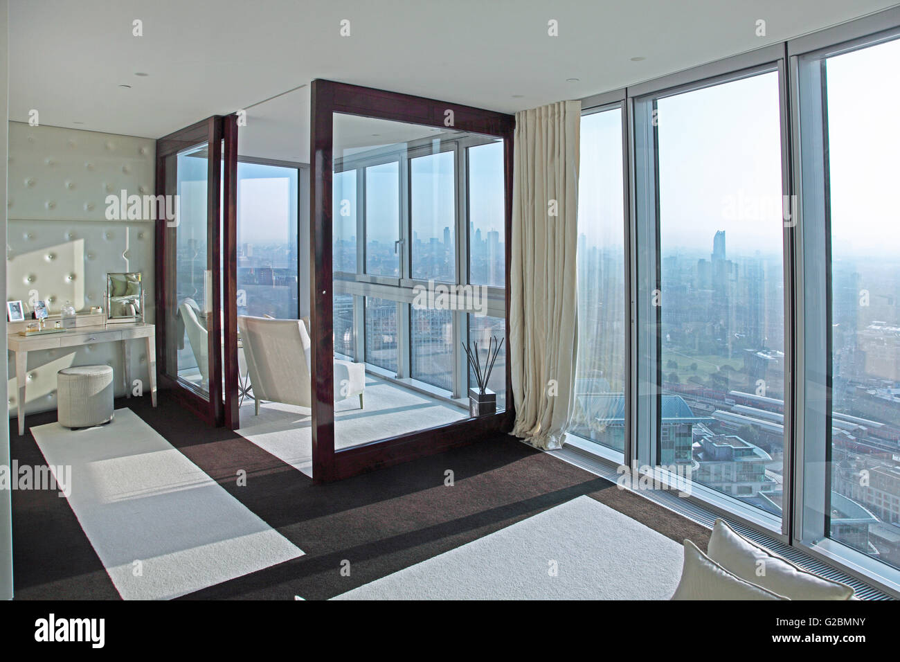 Interior of a flat on the35th floor of The Tower, a luxury residential development at Vauxhall, London, UK. - Stock Image