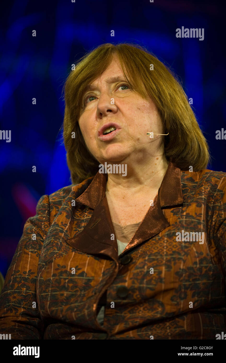 Svetlana Alexievich Belarusian journalist author & 2015 Nobel Literature Laureate speaking on stage at Hay Festival - Stock Image