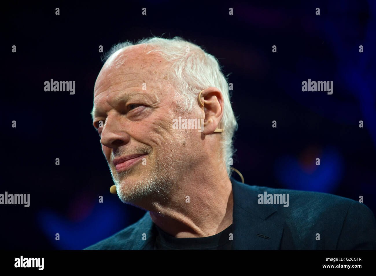 David Gilmour, Pink Floyd guitarist talking about his life & work on stage at Hay Festival 2016 - Stock Image
