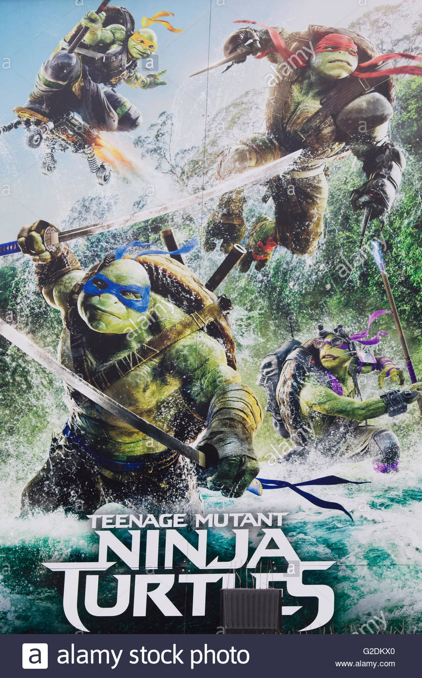 Billboard advertising the blockbuster movie, Teenage Mutant Ninja Turtles, Out of the Shadows[ - Stock Image