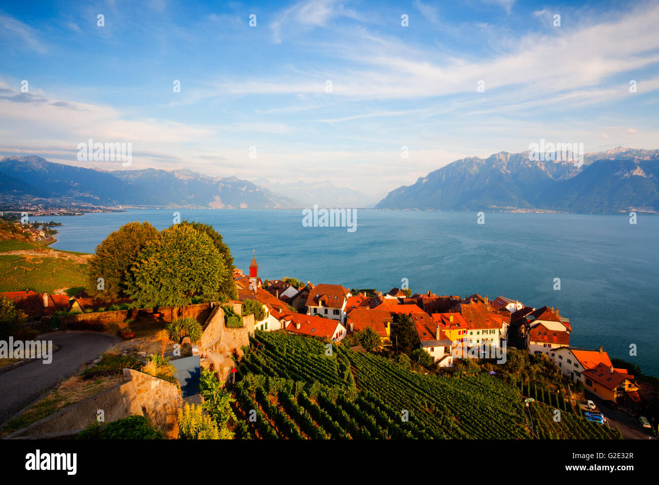 Sunset on vineyards of the Lavaux region over lake Leman (lake of Geneva), Switzerland - HDR ImageStock Photo