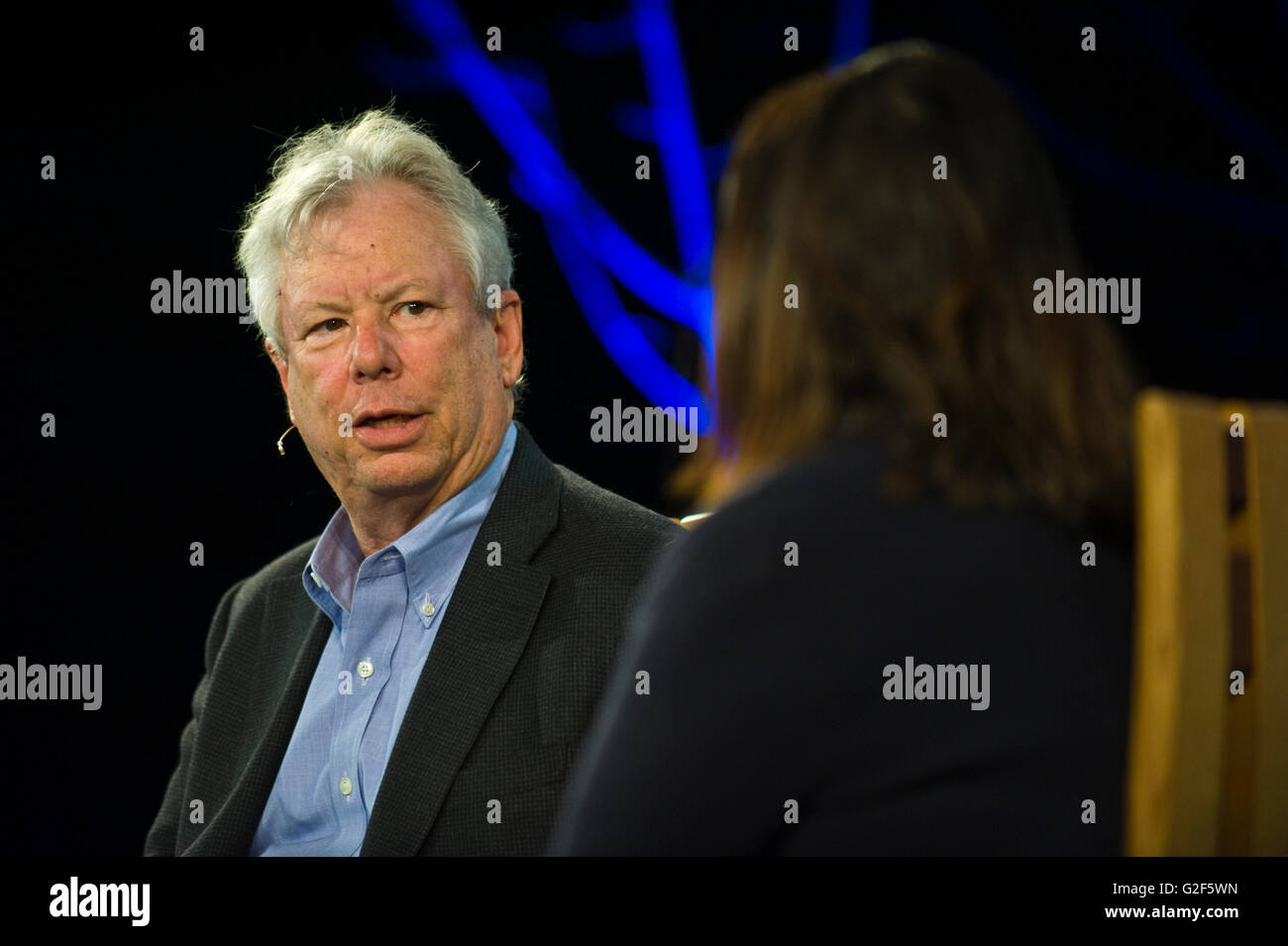 Richard Thaler Professor of Behavioral Science and Economics speaking on stage at Hay Festival 2016 - Stock Image