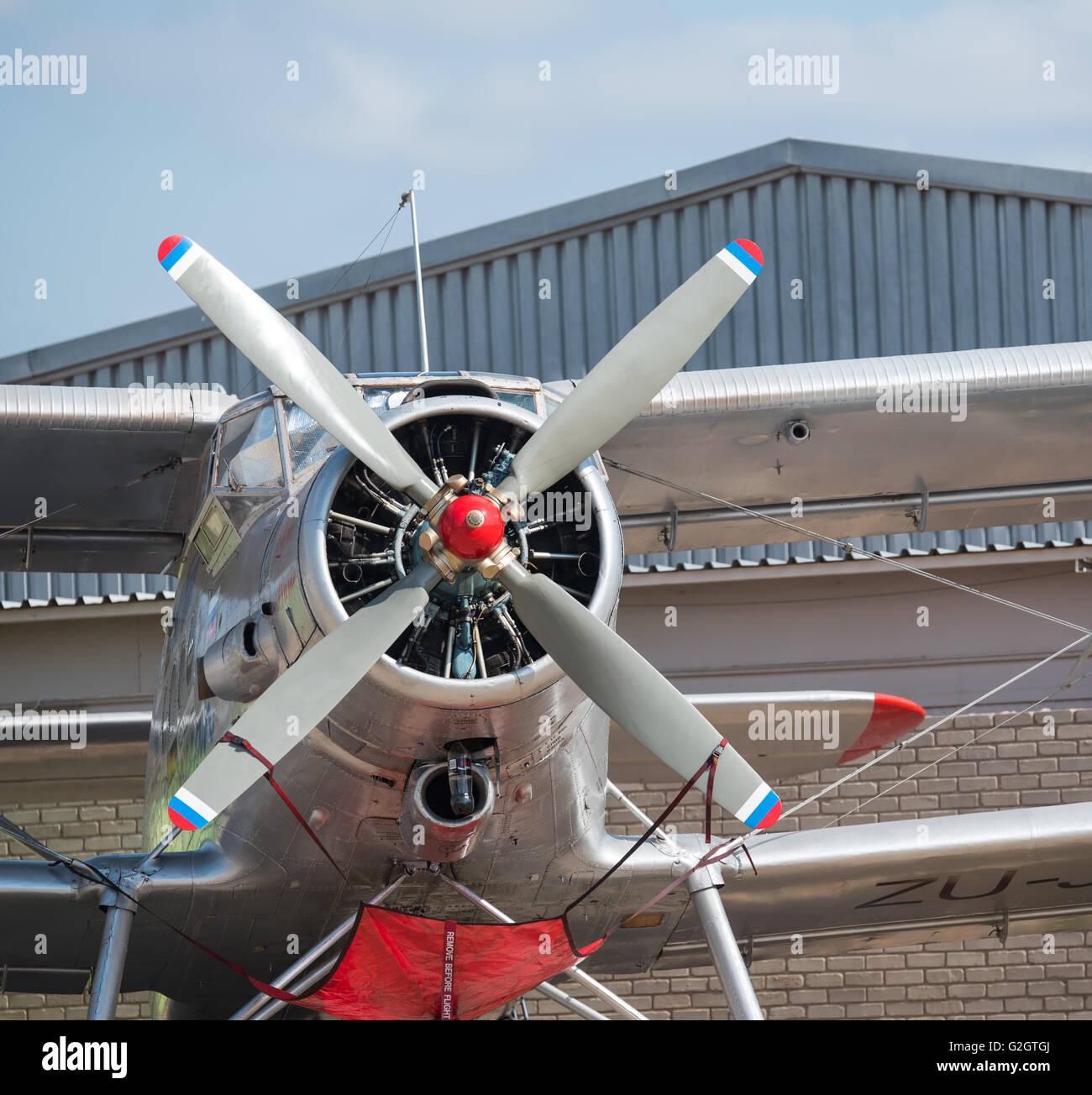 The propeller of the Antonov AN-2 aircraft - Stock Image