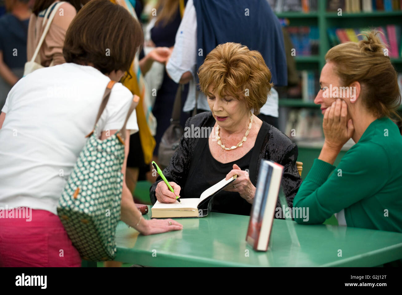 Edna O'Brien book signing in the bookshop at Hay Festival 2016 - Stock Image