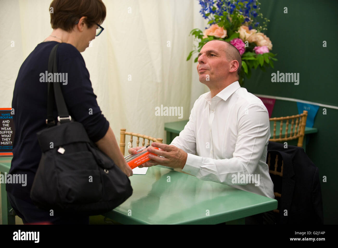 Yanis Varoufakis former finance minister of Greece book signing in the bookshop at Hay Festival 2016 - Stock Image